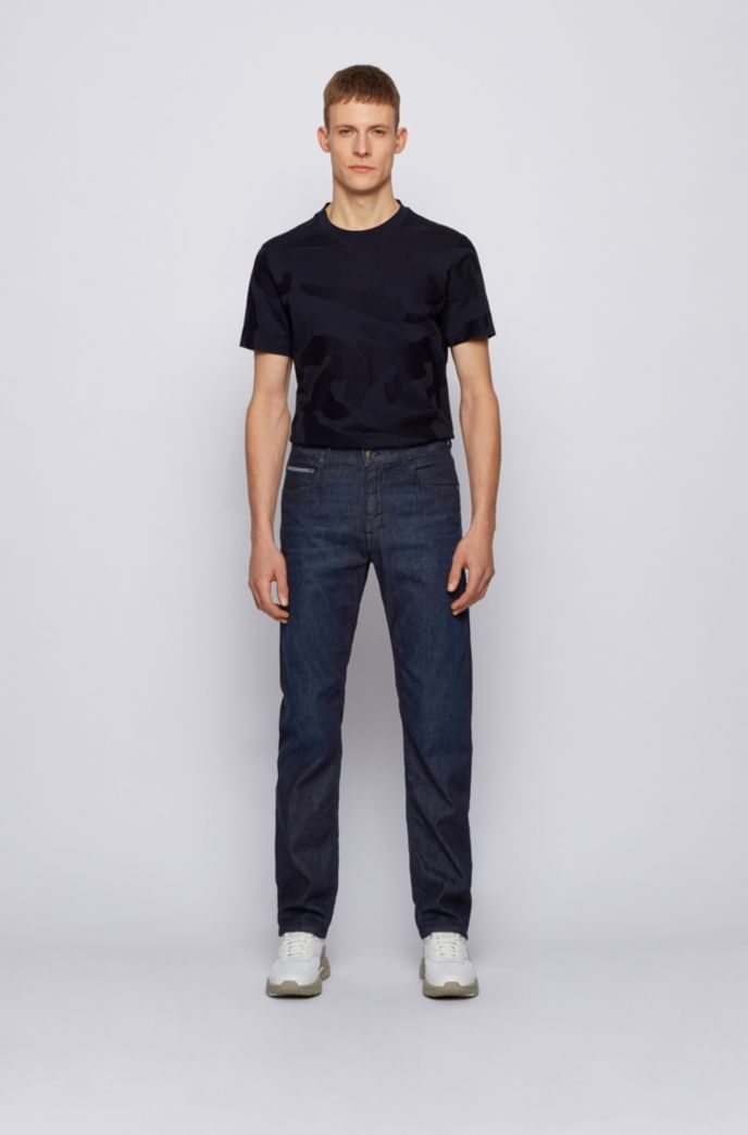 Jeans relaxed fit in denim elasticizzato italiano blu scuro