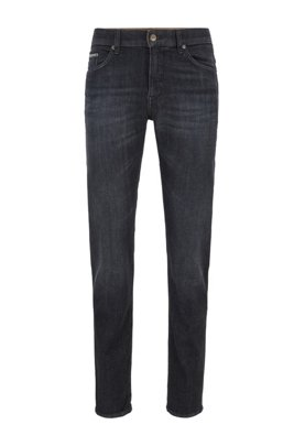 Slim-fit jeans in mid-washed black stretch denim, Dark Grey