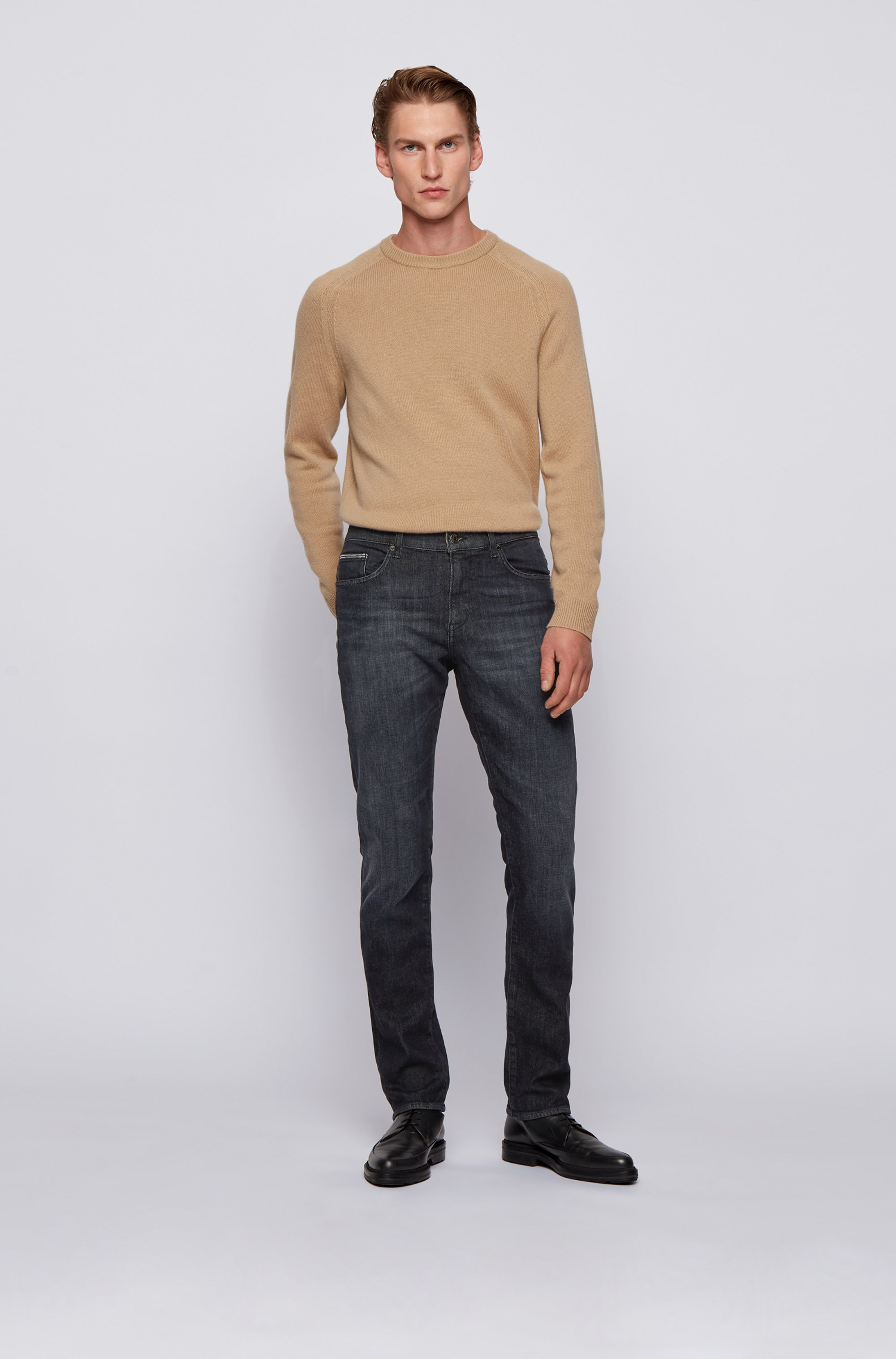 Slim-fit jeans in mid-washed black stretch denim