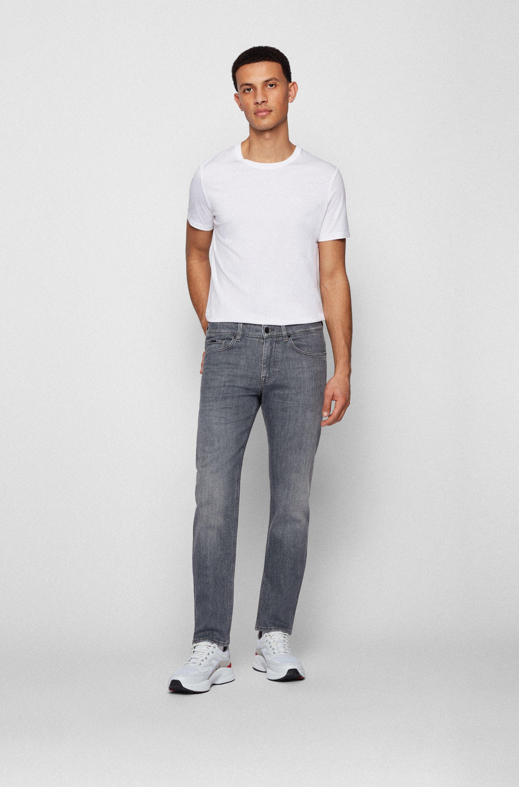 Graue Slim-Fit Jeans aus italienischem Stretch-Denim