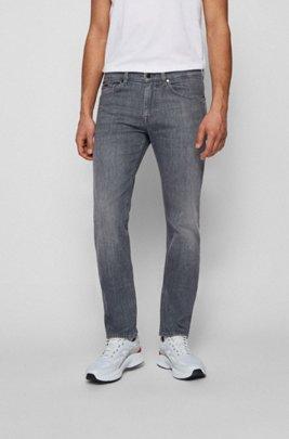 Graue Slim-Fit Jeans aus italienischem Stretch-Denim, Hellgrau