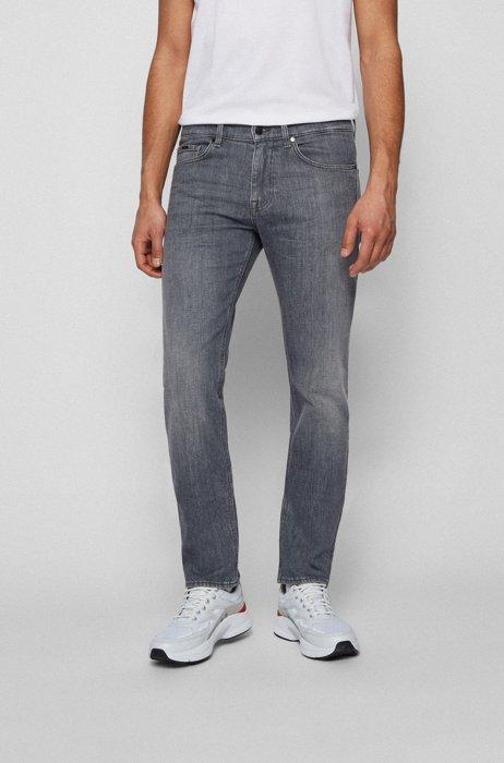 Slim-fit jeans in grey Italian stretch denim, Light Grey