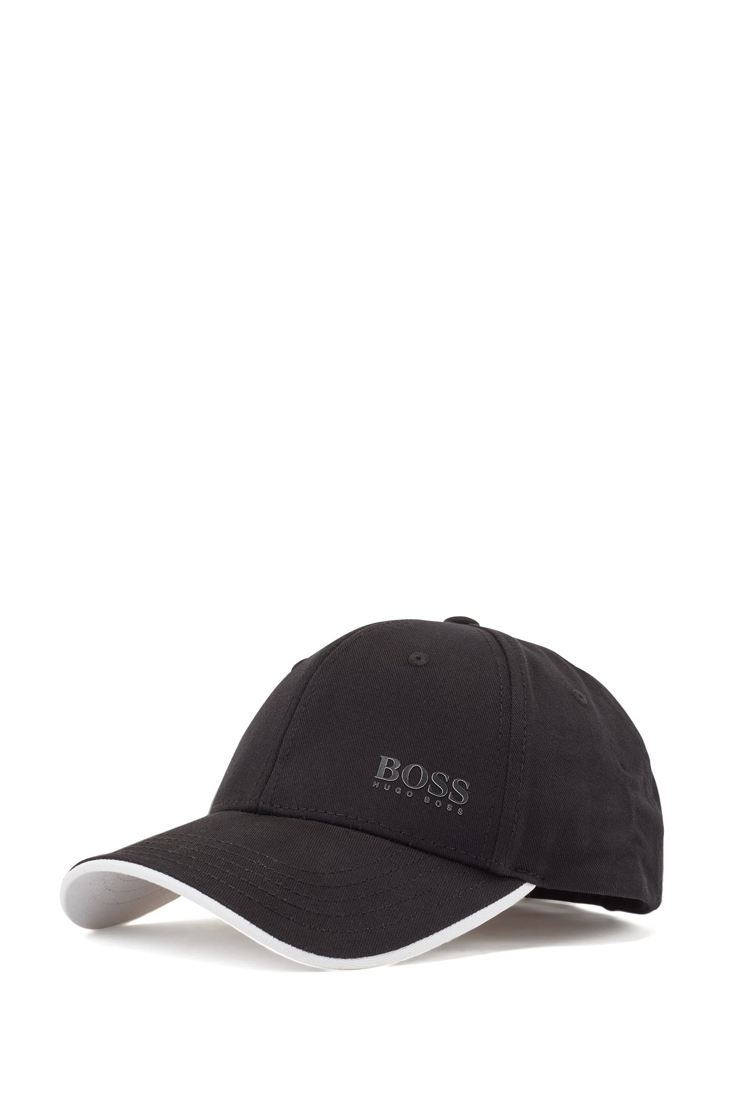 Casquette en twill de coton avec logo imprimé et détails contrastants, Noir