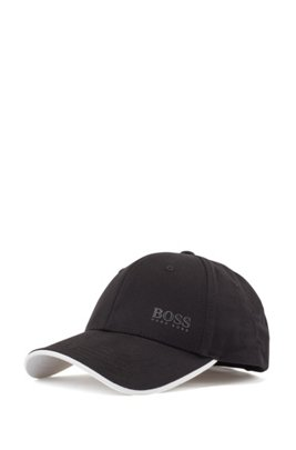 Logo-print cap in cotton twill with contrast accents, Black
