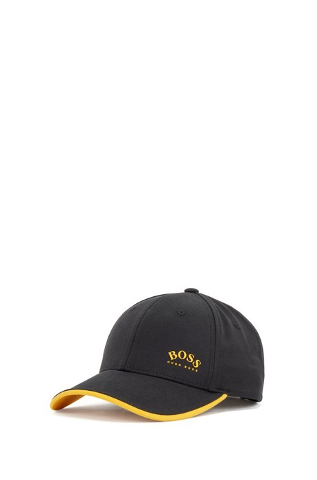 Cotton-twill cap with contrast accents and logo print, Black