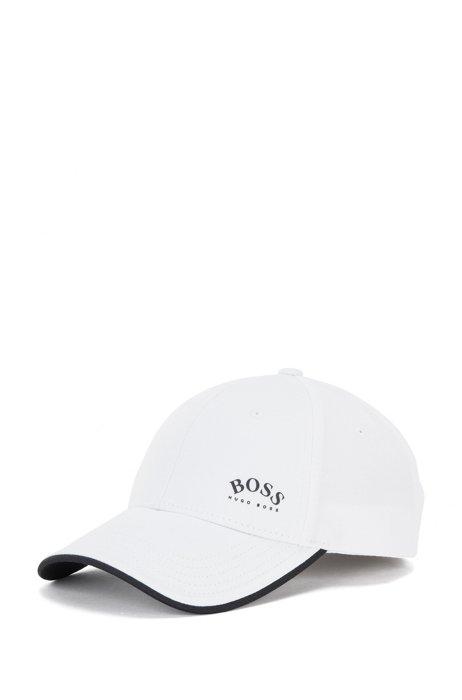 Gorra de sarga de algodón con logo estampado y detalles en contraste, Blanco
