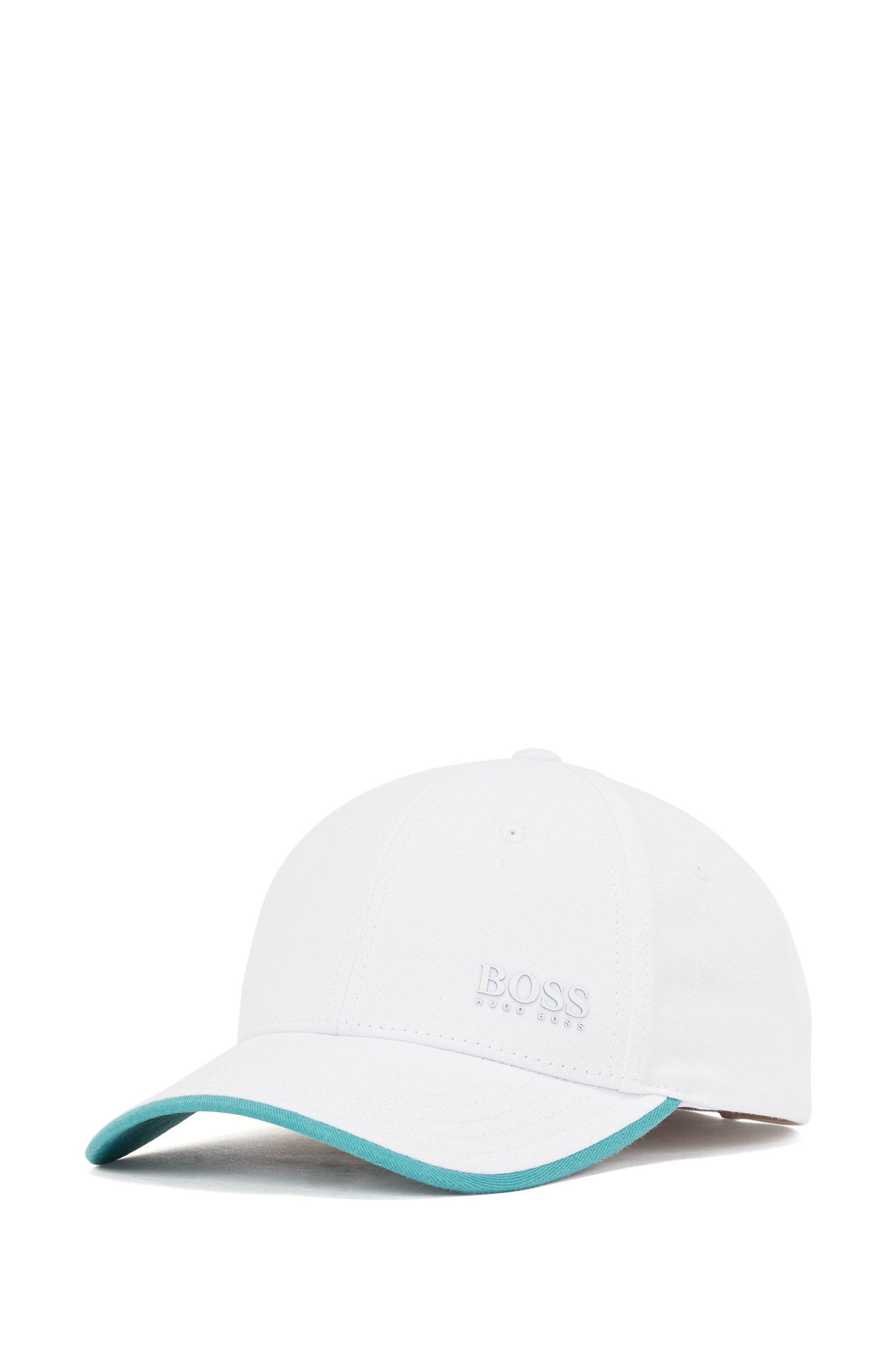 Casquette en twill de coton avec logo imprimé et détails contrastants, Blanc