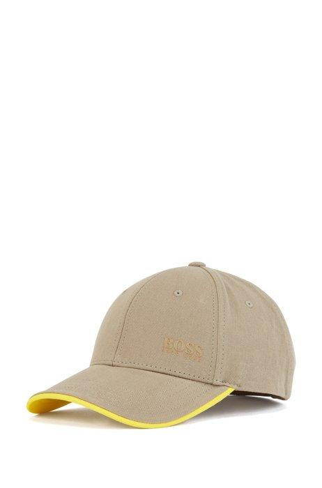 Gorra de sarga de algodón con logo estampado y detalles en contraste, Beige