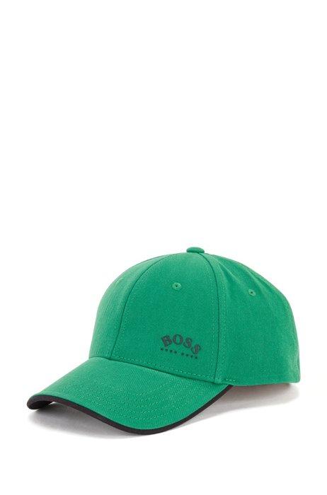 Gorra de sarga de algodón con logo estampado y detalles en contraste, Verde