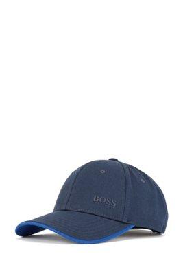 Cap aus Baumwoll-Twill mit Logo-Print und Kontrast-Akzenten, Dunkelblau