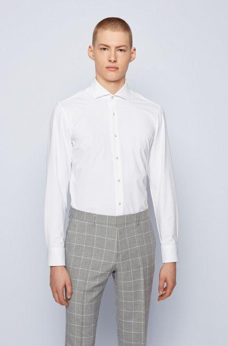 Performance-stretch slim-fit shirt in Italian dobby, White