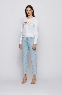 Regular-fit degradé-logo sweatshirt in organic cotton, White