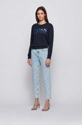 Regular-fit degradé-logo sweatshirt in organic cotton, Dark Blue