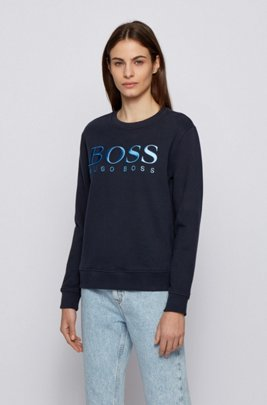 Regular-fit degradé-logo sweatshirt in organic cotton, Dark Blue