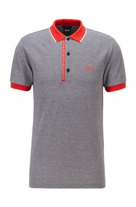 Slim-fit polo shirt in Oxford-cotton piqué with logo-tape placket, Grey