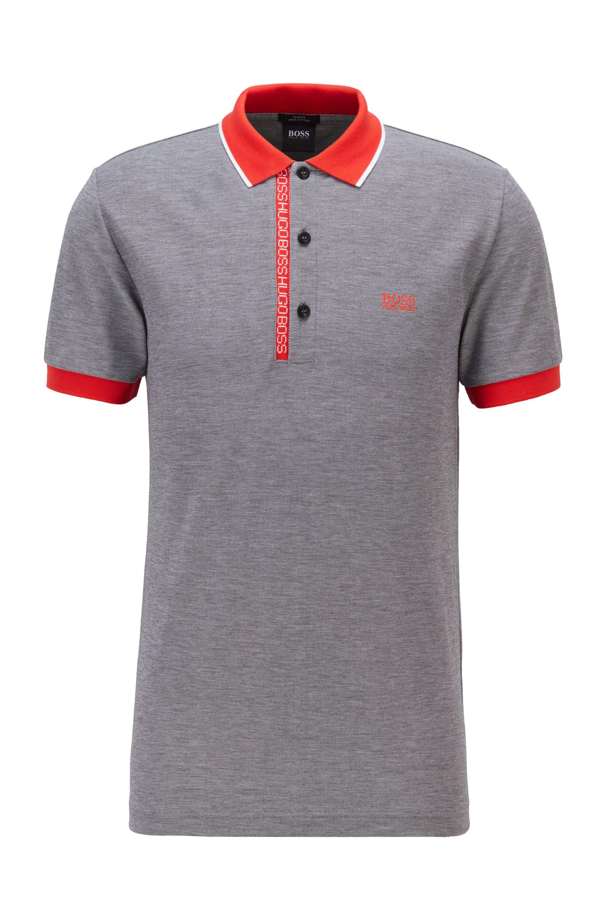 Polo Slim Fit en piqué de coton Oxford avec patte de boutonnage à ruban logo, Gris