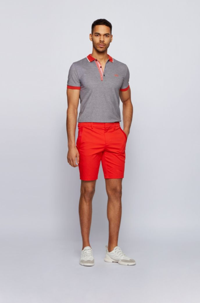 Slim-fit polo shirt in Oxford-cotton piqué with logo-tape placket