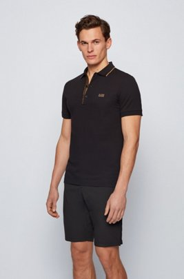 Slim-fit polo shirt in Oxford-cotton piqué with logo-tape placket, Black
