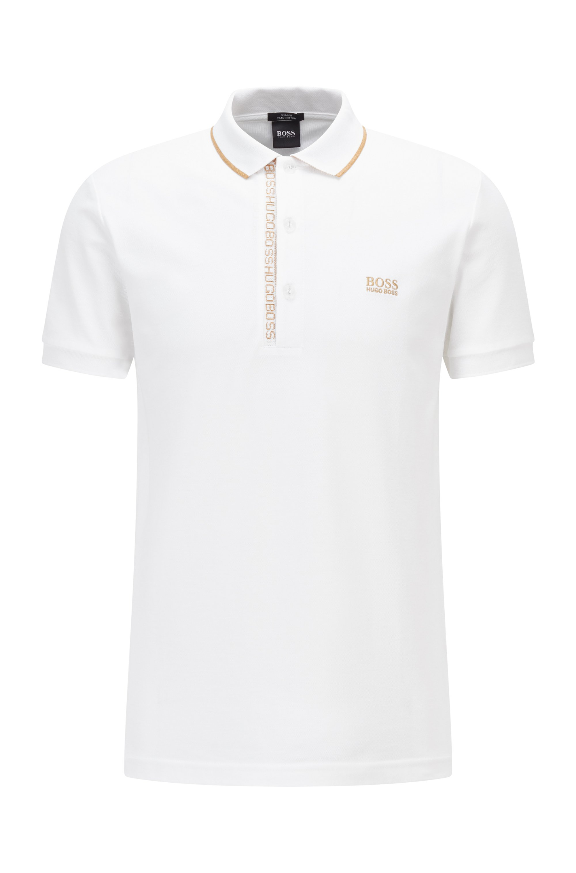 Slim-fit polo shirt in Oxford-cotton piqué with logo-tape placket, White