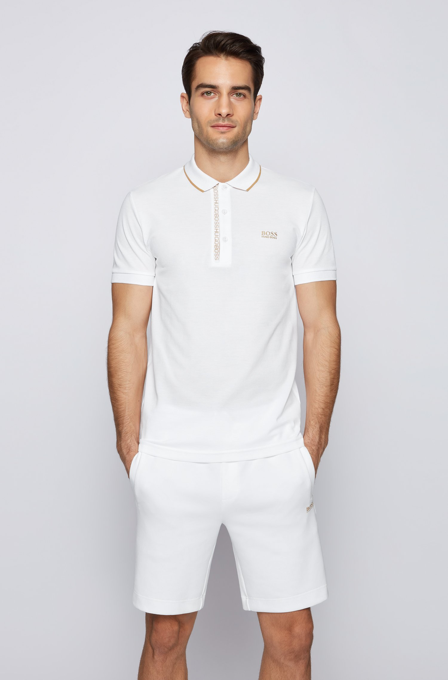 Polo Slim Fit en piqué de coton Oxford avec patte de boutonnage à ruban logo, Blanc