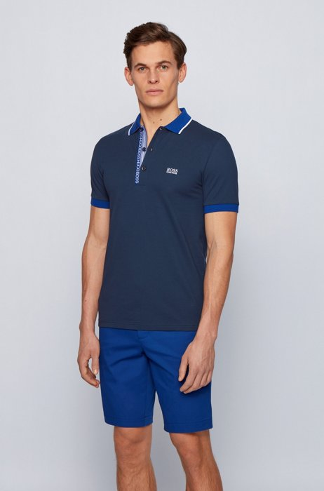 Slim-fit polo shirt in Oxford-cotton piqué with logo-tape placket, Dark Blue