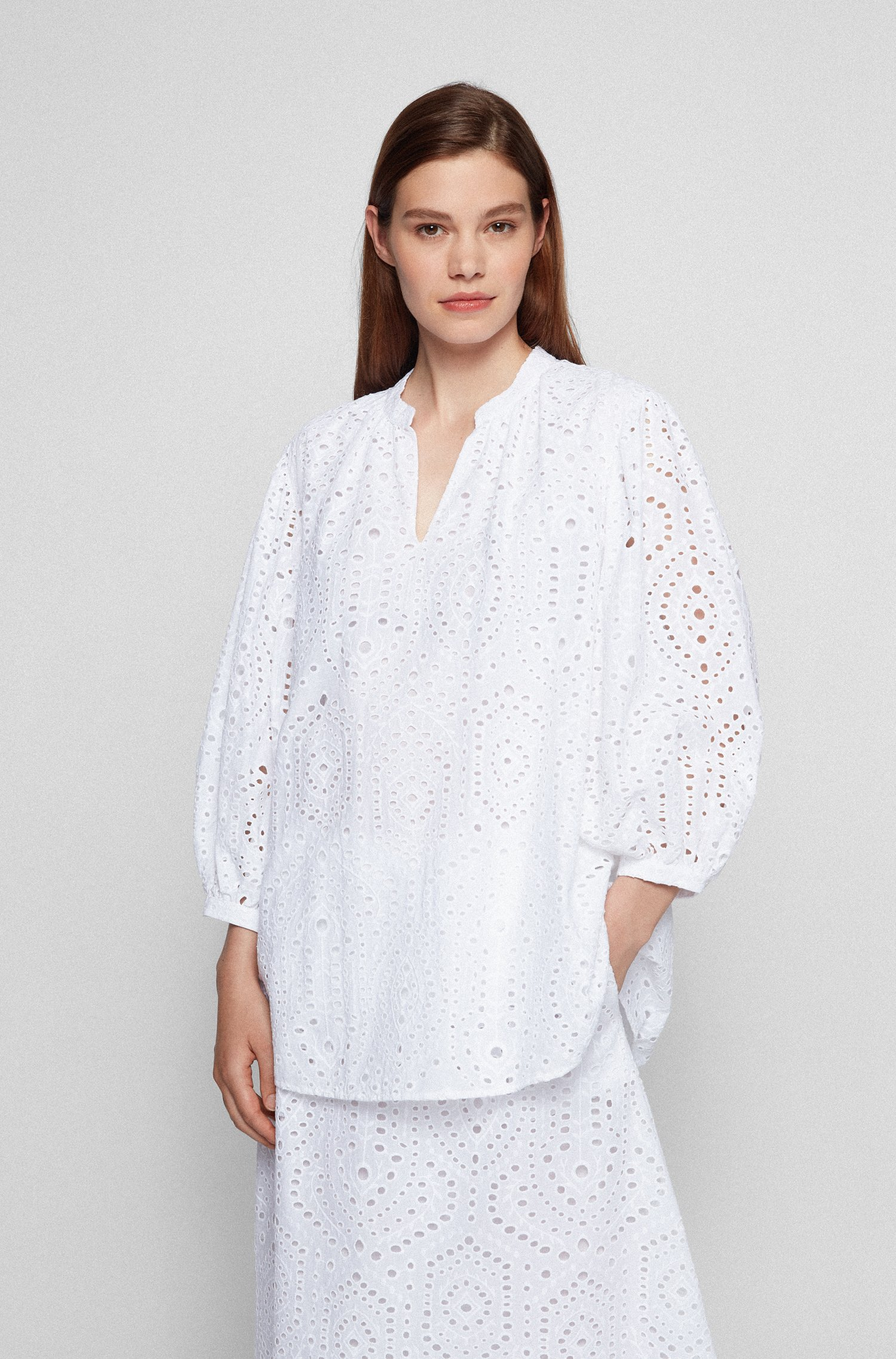 Relaxed-fit blouse in cotton broderie anglaise, White