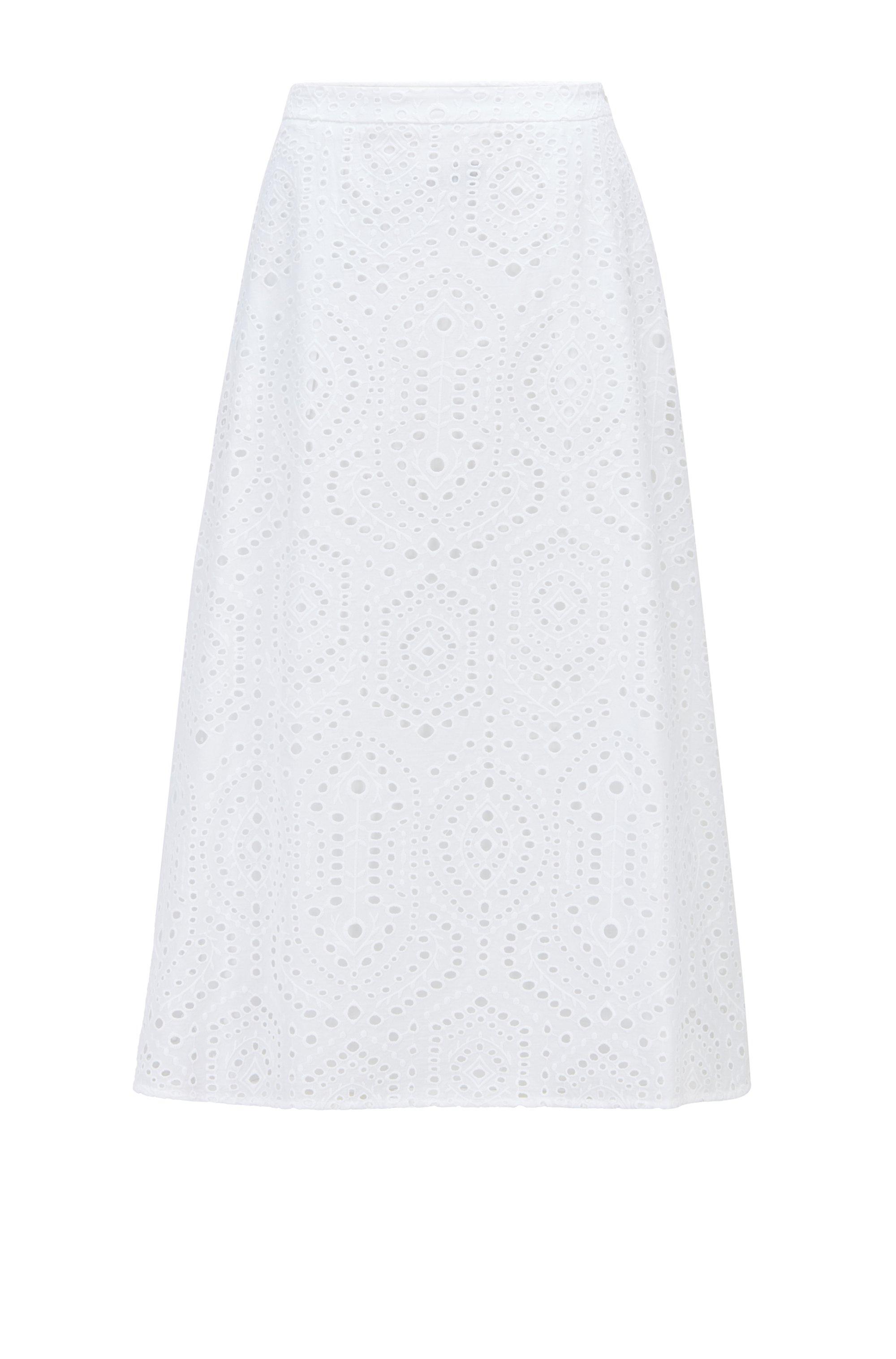 Midirock aus reiner Baumwolle mit Lochspitze, Weiß