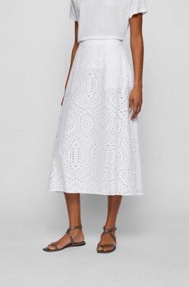 Falda midi de puro algodón con bordado inglés, Blanco