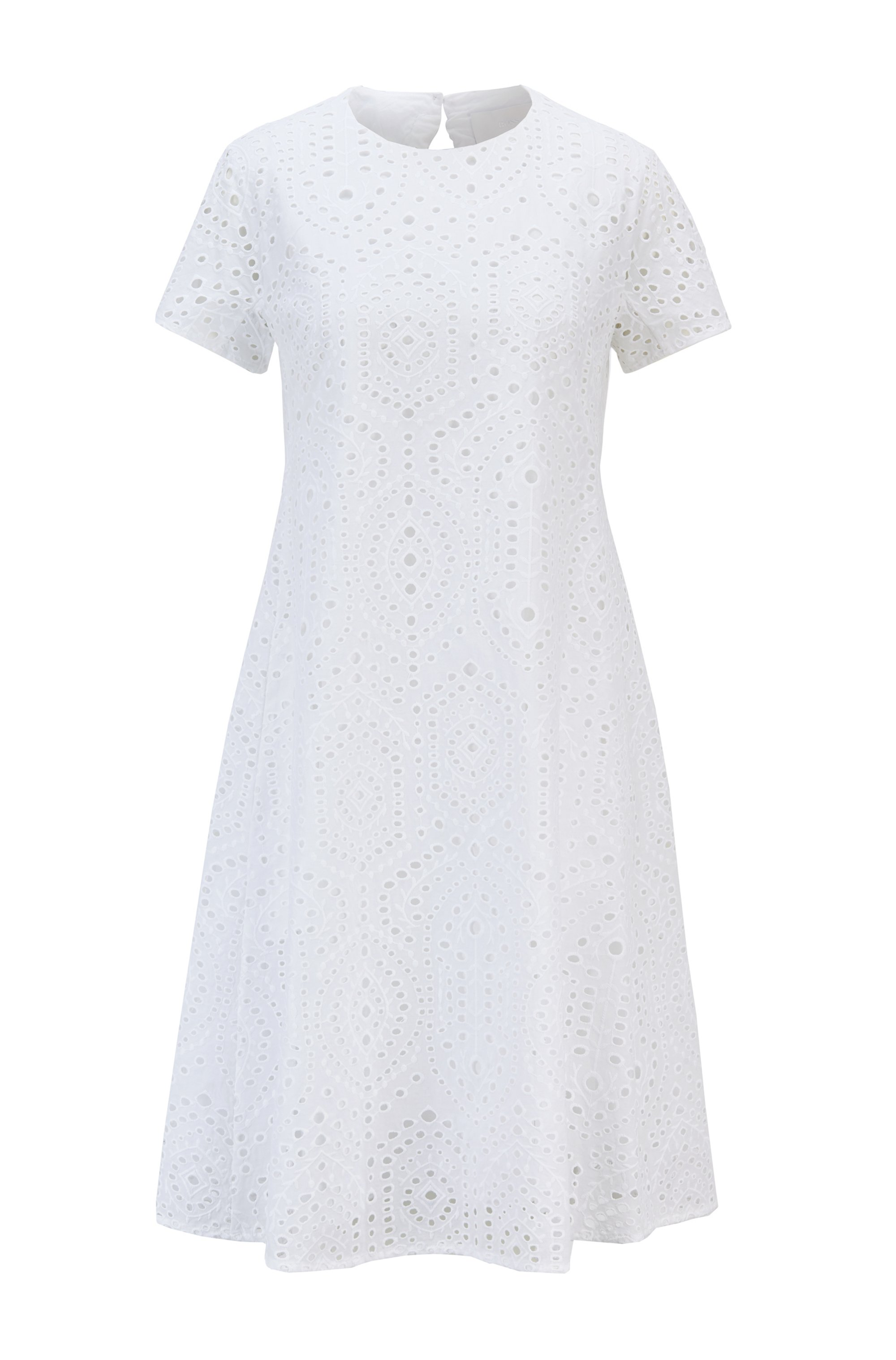 Broderie-anglaise dress with ruched cutaway back, White