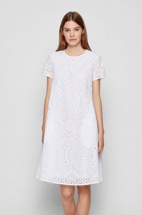 ブロダリーアングレーズ ドレス ルーシュカットアウトバック, ホワイト