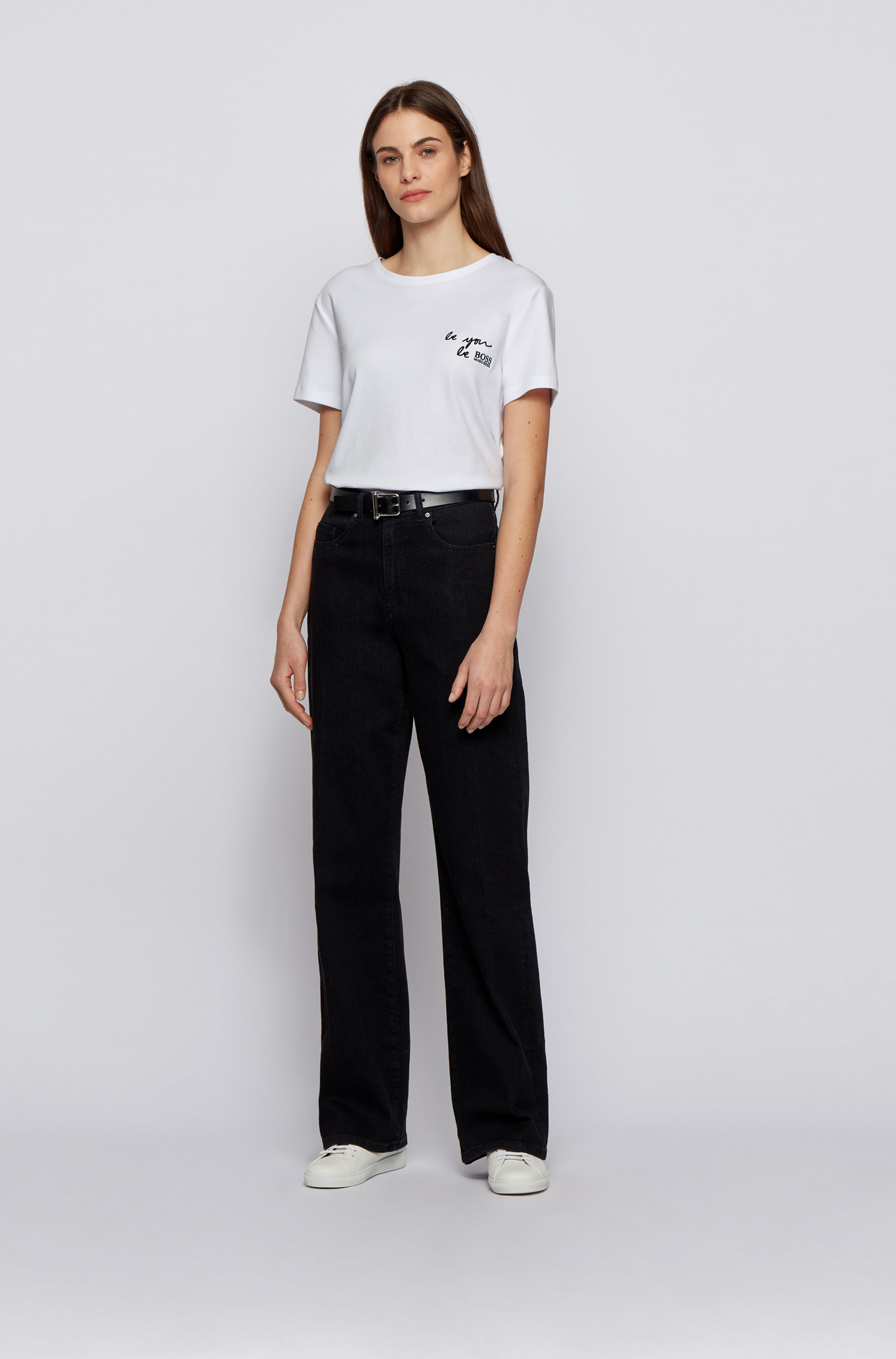 Regular-fit slogan T-shirt in Supima cotton