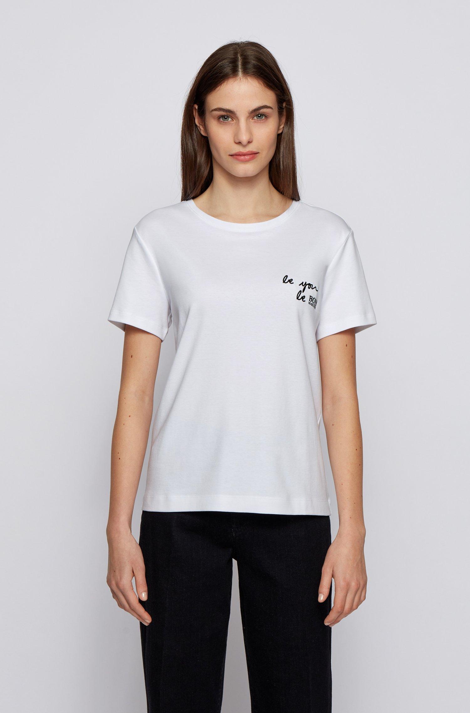 Regular-fit slogan T-shirt in Supima cotton, White