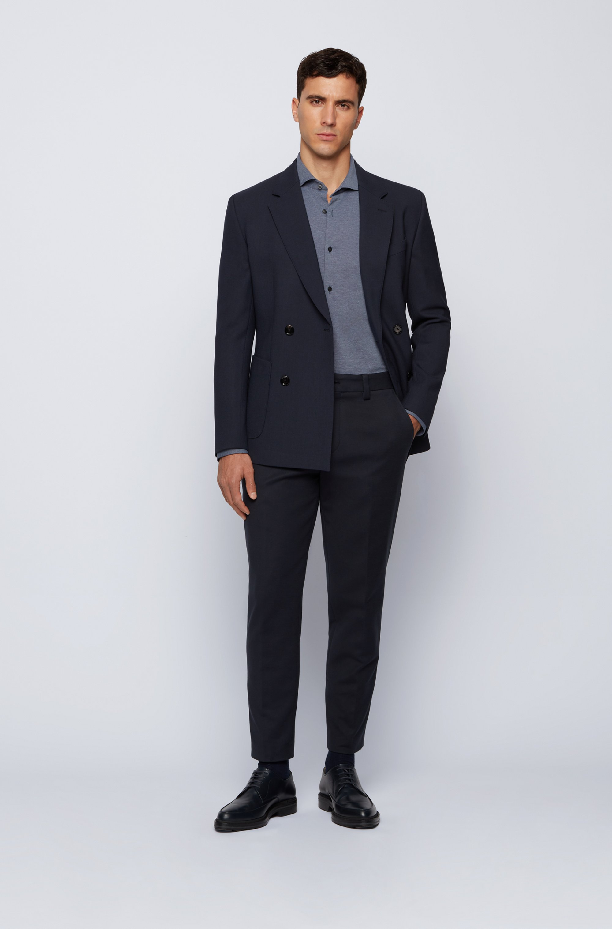 Slim-fit shirt in Italian performance-stretch fabric