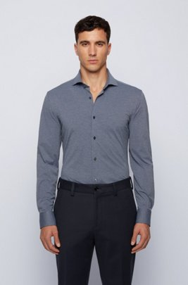 Slim-fit shirt in Italian performance-stretch fabric, Dark Grey