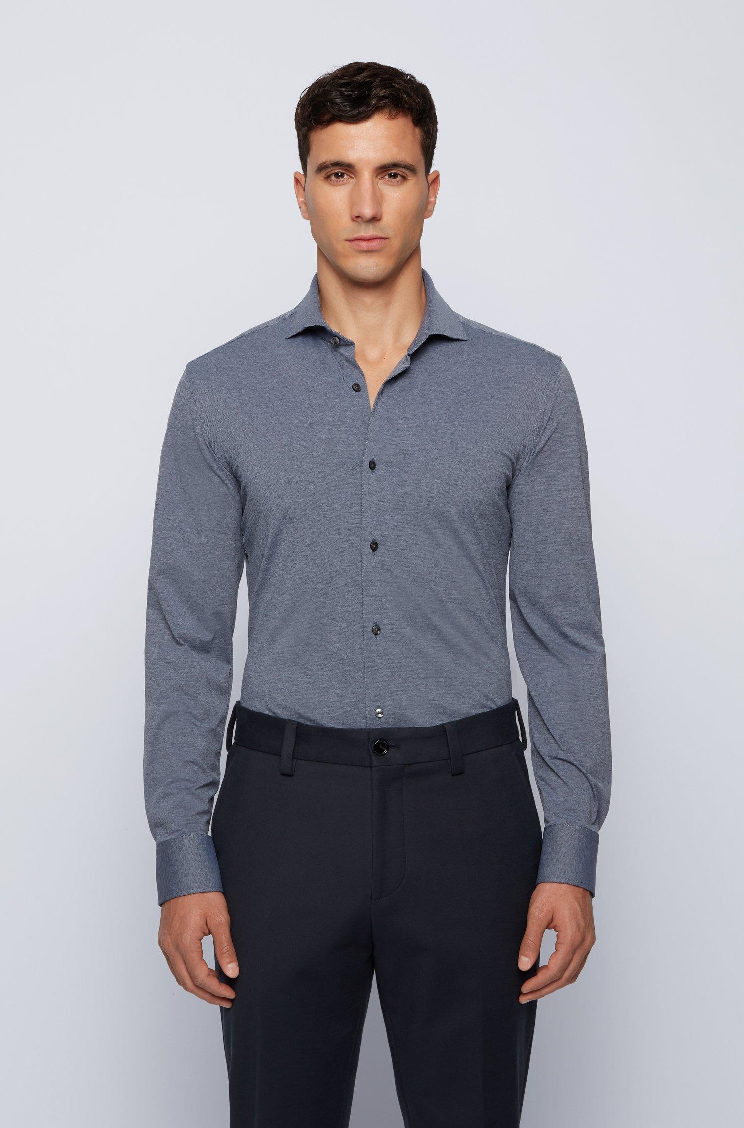 Slim-Fit Hemd aus italienischem Stretch-Funktionsgewebe, Dunkelgrau