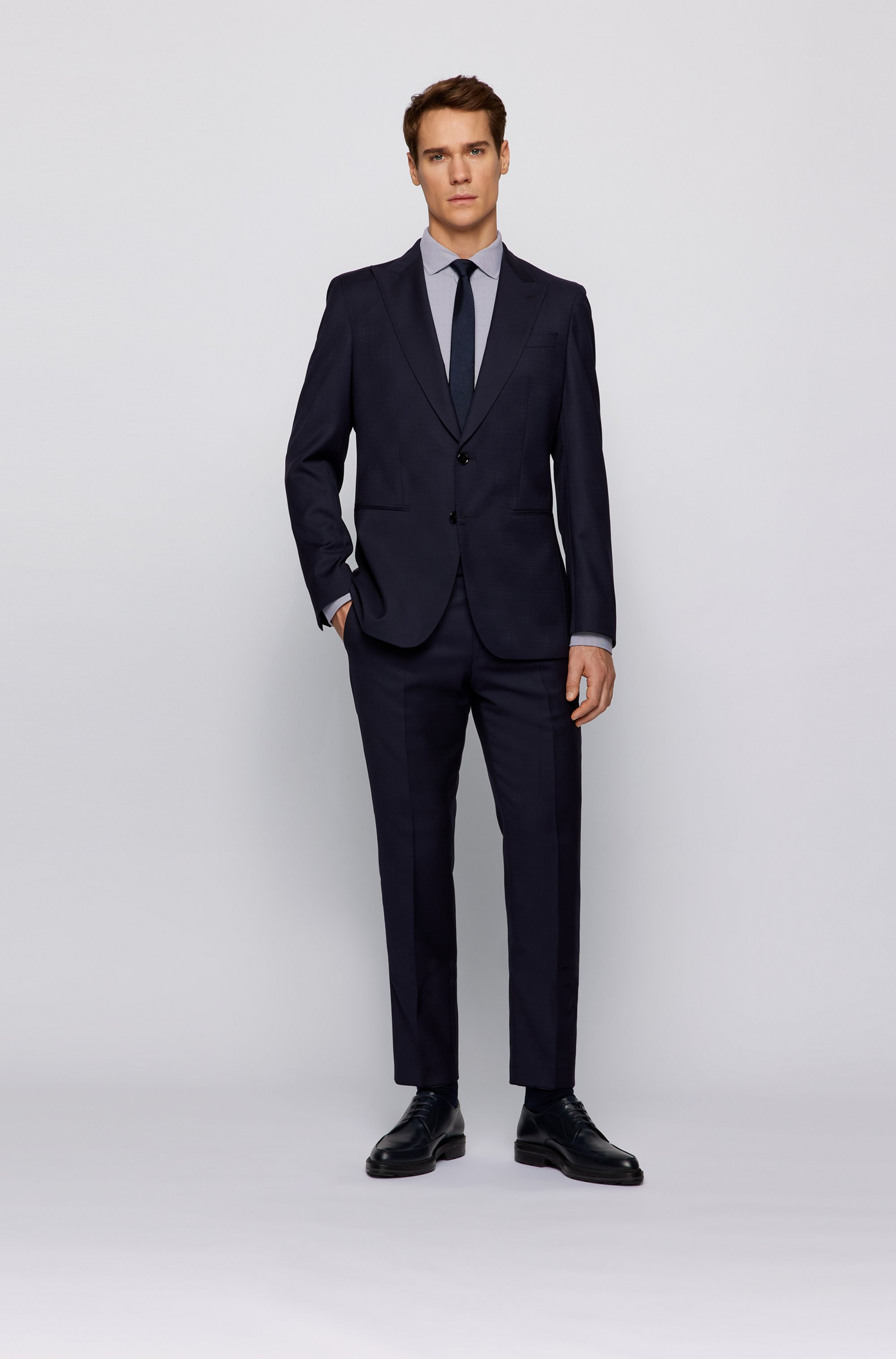 Slim-fit shirt in patterned Italian performance-stretch fabric