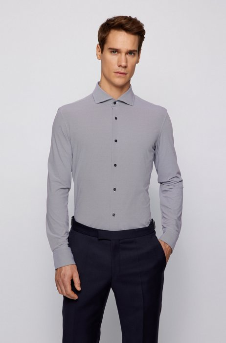 Slim-fit shirt in patterned Italian performance-stretch fabric, Light Grey