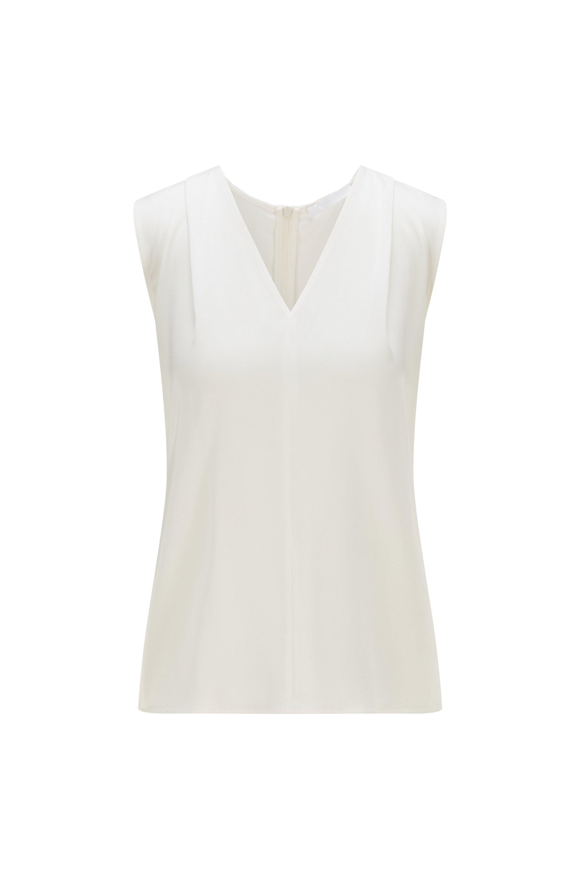 Sleeveless V-neck top in crepe de chine, White