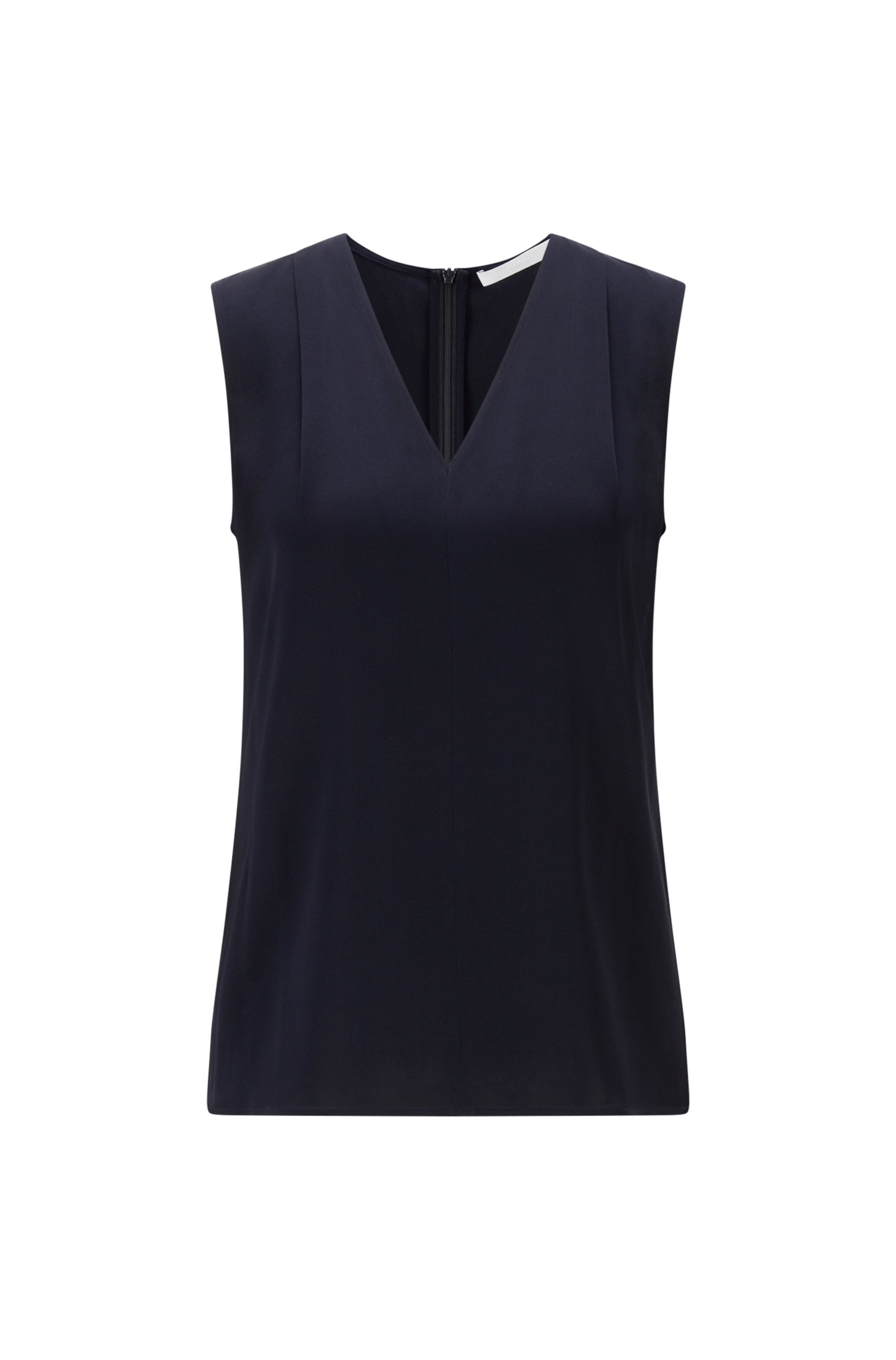 Sleeveless V-neck top in crepe de chine, Light Blue