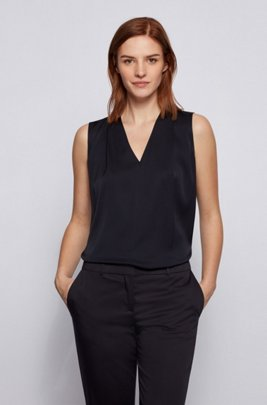 Sleeveless V-neck top in crepe de chine, Dark Blue