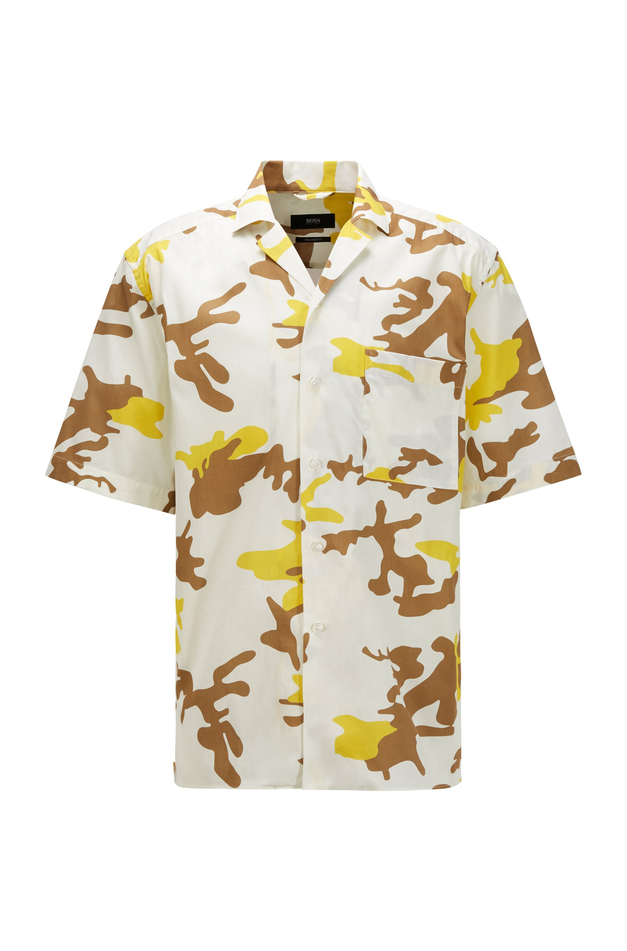 Camouflage-print relaxed-fit shirt in Italian-cotton poplin, Yellow Patterned