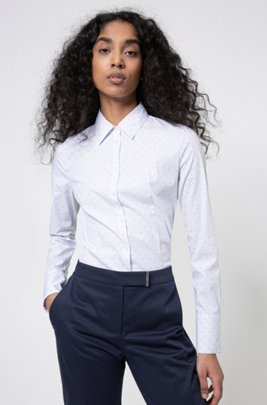 Slim-fit blouse in stretch poplin with fil-coupé motif, Light Blue