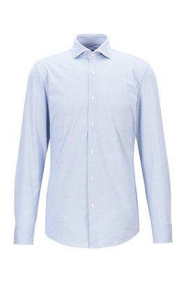 Slim-fit shirt in structured Italian performance-stretch fabric, Light Blue