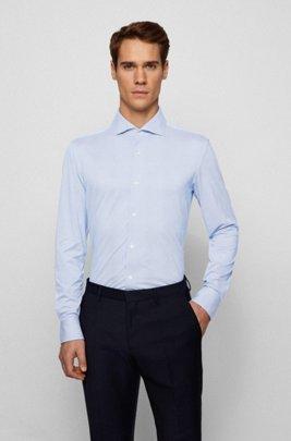 Slim-fit overhemd van gestructureerd Italiaans performancemateriaal met stretch, Lichtblauw