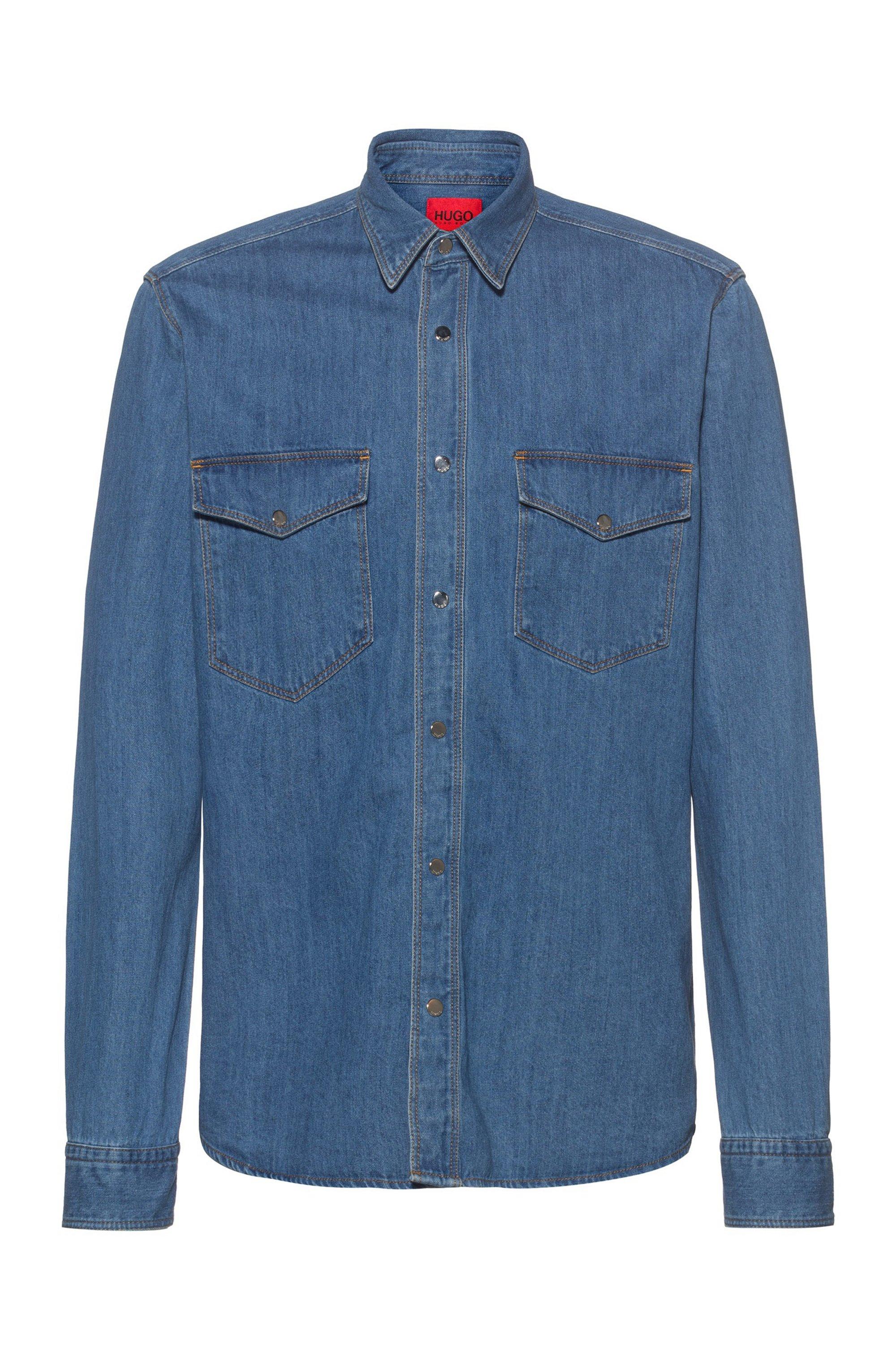 Chemise en jean Relaxed Fit à boutons-pression, Bleu
