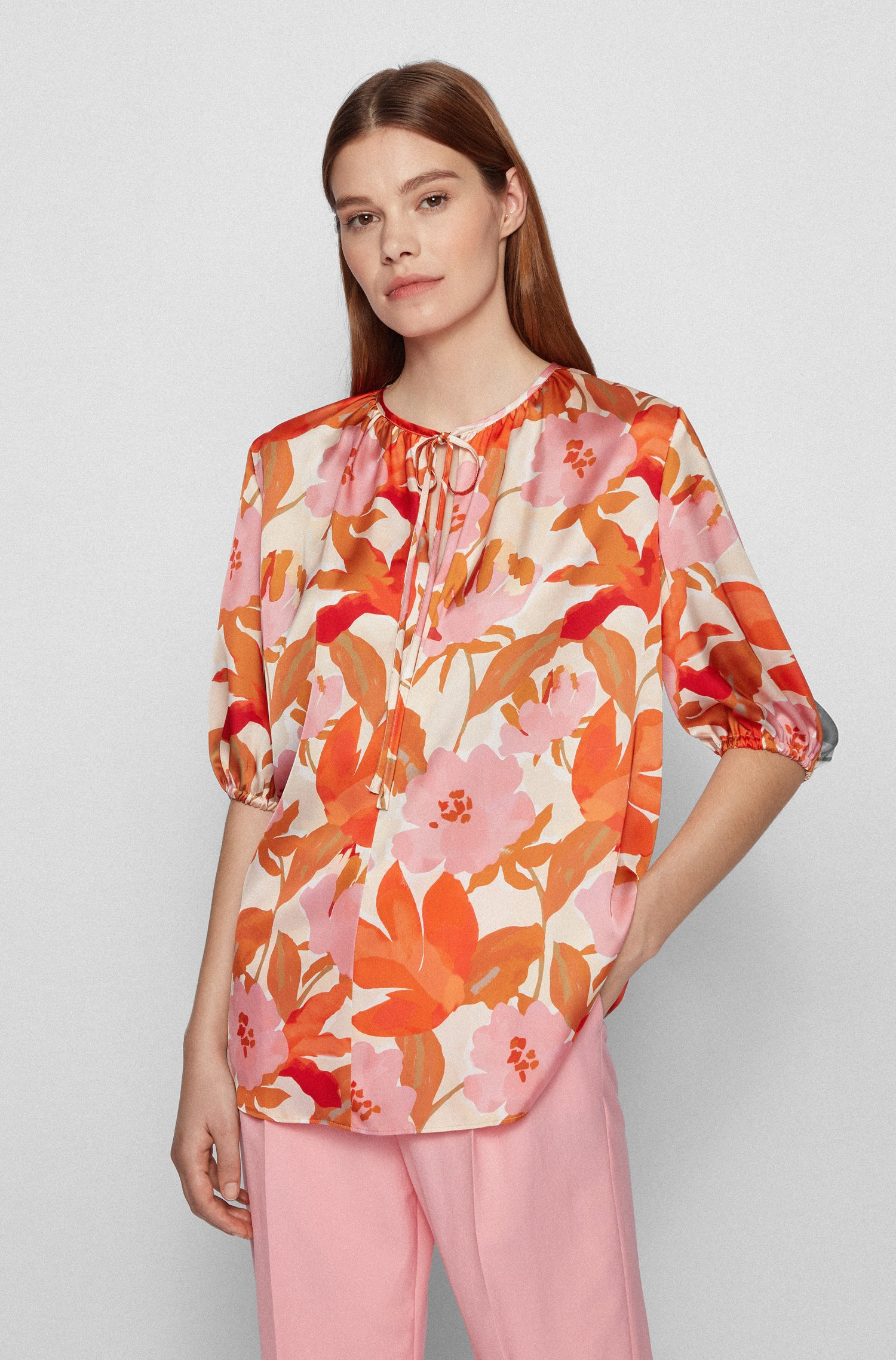 Floral-print top with ruched neckline, Patterned