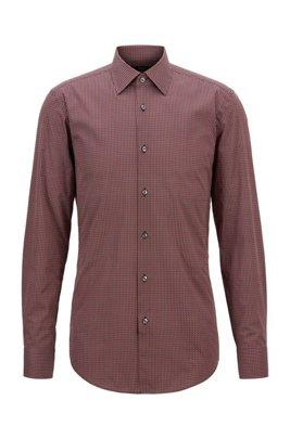 Slim-Fit Hemd aus italienischer Baumwoll-Popeline mit geometrischem Print, Dunkelrot