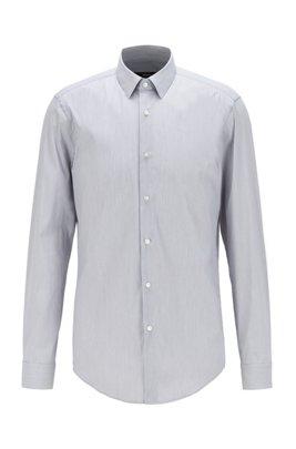Slim-fit shirt in pinstripe stretch fabric, Light Grey