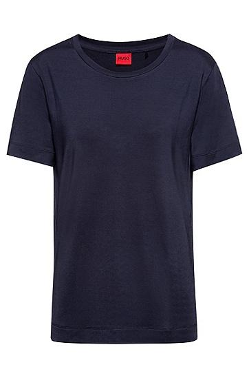 泡泡纱背面镶片弹力平纹针织 T 恤,  暗蓝色