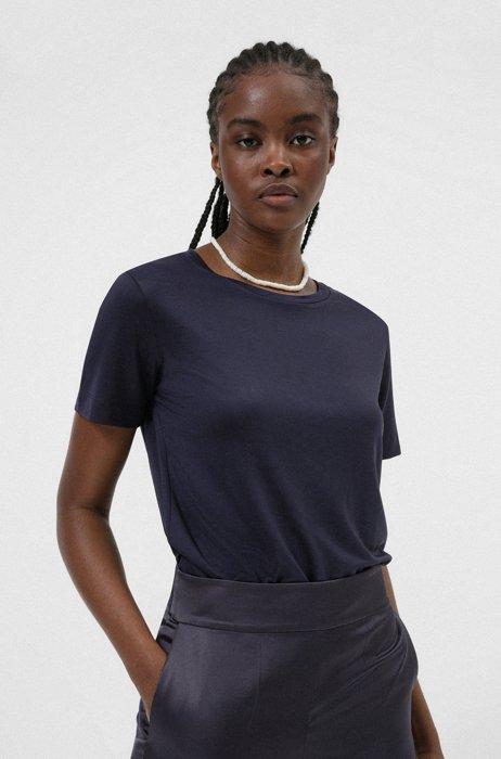Stretch-jersey T-shirt with plissé back panel, Dark Blue